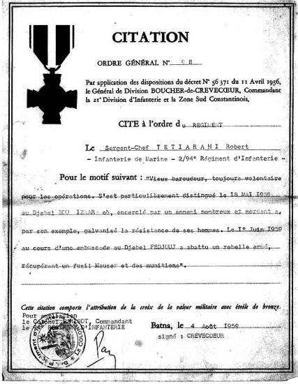 S-C Tetirarhi - 6 - Citation Algérie au 2-94 RI - 5ème Cie
