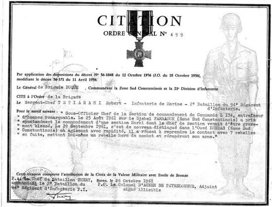 S-C Tetirarhi - 7 - Citation Algérie  au 2-94 RI - 5ème Cie.